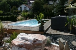 Garden setting swim spa